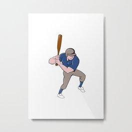 Baseball Player Batting Isolated Cartoon Metal Print