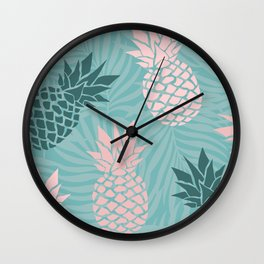 Tropical Pineapple and Palm Leaf Pattern, Teal and Pink Wall Clock