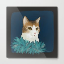 Kitty in a feather boa Metal Print