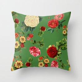 Green vintage roses Throw Pillow