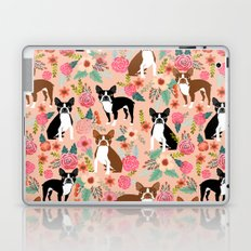 Boston Terrier cute floral pattern spring summer happy pet portrait dog person gift must haves dogs Laptop & iPad Skin