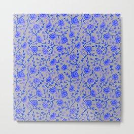 Watercolor Peonies - Cobalt Blue Metal Print