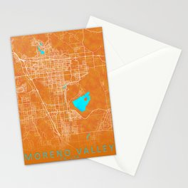 Moreno Valley, CA, USA, Gold, Blue, City, Map Stationery Cards