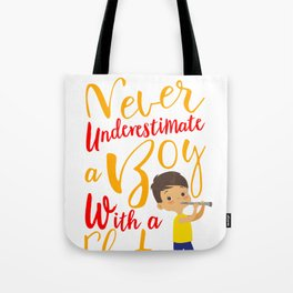 Never Underestimate a Boy With a Flute Cool Gift for Kids Premium design Tote Bag