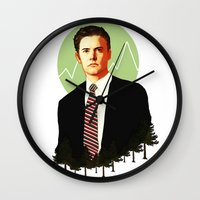 dale cooper Wall Clocks featuring Cooper by chazstity