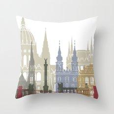 Budapest skyline poster Throw Pillow