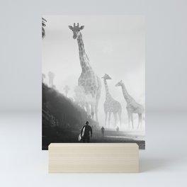 Giraffes the Beach Mini Art Print