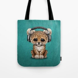 Cute Leopard Cub Dj Wearing Headphones on Blue Tote Bag