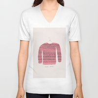 sweater V-neck T-shirts featuring Saco-Sweater by Alejandra Hernandez