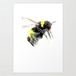 Bumblebee, bee art flying bee design honey bee wildlife Art Print