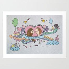 Valentine's Doodle Art Print