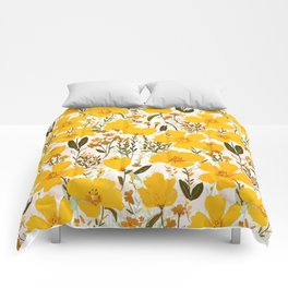 Yellow roaming wildflowers Comforters