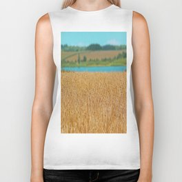 Golden Corn by the Turquoise Water Biker Tank