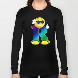 Letter R Alphabet Smiley Monogram Face Emoji Shirt for Men Women Kids Long Sleeve T-shirt