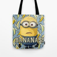 minion Tote Bags featuring Minion by DisPrints