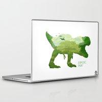 jurassic park Laptop & iPad Skins featuring Jurassic Park minimalist Poster by LoweakGraph