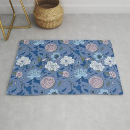 Lovely Seamless Floral Pattern With Subtle Poodles (Hand Drawn) Rug