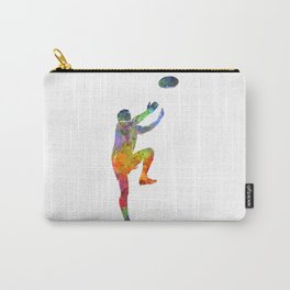 Rugby man player 05 in watercolor Carry-All Pouch