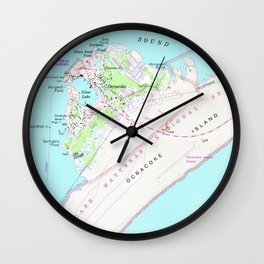 Vintage Map of Ocracoke North Carolina (1948) Wall Clock