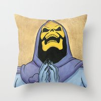 skeletor Throw Pillows featuring Saint Skeletor by Ghirigori Lab