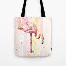 Pink Flamingo Watercolor Bird Animals Whimsical Animal Tote Bag