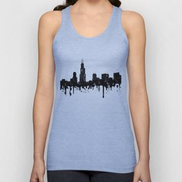 Watercolor Chicago Skyline Unisex Tank Top