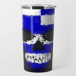 Flag of Greece on a Chaotic Splatter Skull Travel Mug