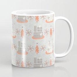 Wrapped Presents Under the Tree Grey and Orange Coffee Mug