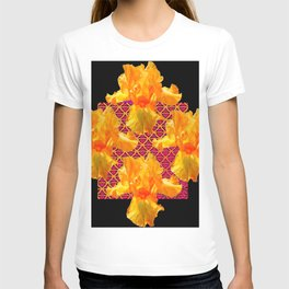 Golden Spring Iris Patterned Black  Decor T-shirt