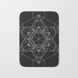 Metatron's Cube Black & White Bath Mat