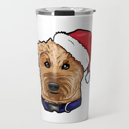 Irish Soft Coated Wheaten Terrier Dog Christmas Hat Travel Mug