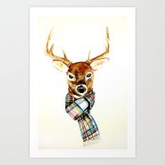 Deer buck with winter scarf - watercolor Art Print