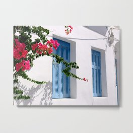 Beautiful Blue Shutters in Greece Metal Print