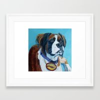 nori Framed Art Prints featuring Nori the Therapy Boxer by Barking Dog Creations Studio