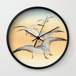 Japanese Seagull Woodblock Print by Ohara Koson Wall Clock