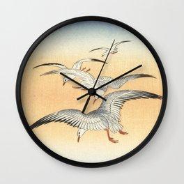 Japanese Seagull Woodblock Print by Ohara Koson Wall Clock