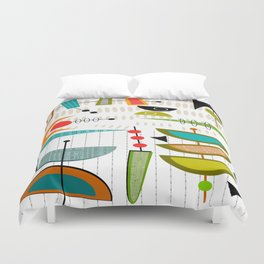Mid-Century Modern Abstract Atomic Art Duvet Cover