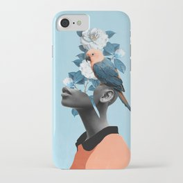 Girl with parrot iPhone Case