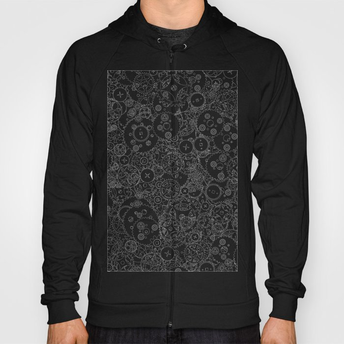 Clockwork B&W inverted / Cogs and clockwork parts lineart pattern Hoody