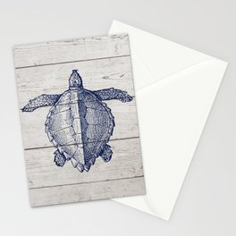 Rustic Beach Town Woodgrain Navy Blue Sea Turtle Stationery Cards
