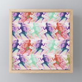 Watercolor women runner pattern with red mint and dark purple Framed Mini Art Print