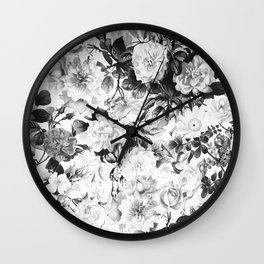 Black gray modern watercolor roses floral pattern Wall Clock