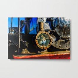 Ancient Steam Locomotive Headlight Made Of Oil Lamp Metal Print