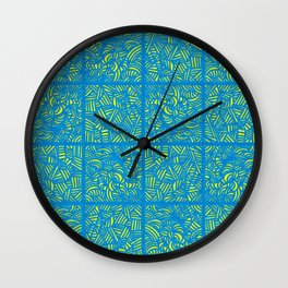 Mess Pattern Blue & Yellow Wall Clock