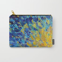 AQUATIC MELODY - Lovely Bright Abstract Ocean Waves Acrylic Painting Colorful Rainbow Beach Gift Art Carry-All Pouch