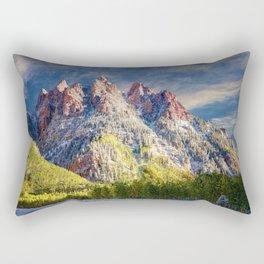Colorado Rocky Mountain First Snow Maroon Bells Rectangular Pillow