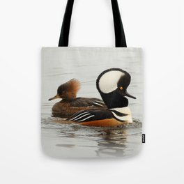 A Tale of Two Hooded Mergansers Tote Bag