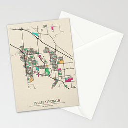 Colorful City Maps: Palm Springs, California Stationery Cards