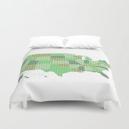 United States Map - Green Duvet Cover