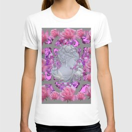 ABSTRACT PINK ROSES & CAMEO GIRL PURPLE-GREY T-shirt